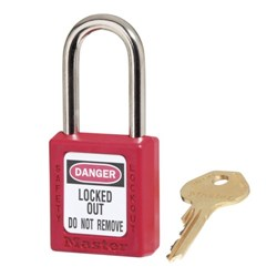 Red Thermoplastic Safety Padlock