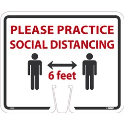Social Distancing Cone Sign White