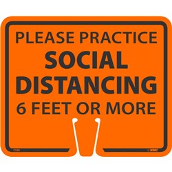 Social Distancing Cone Sign Orange